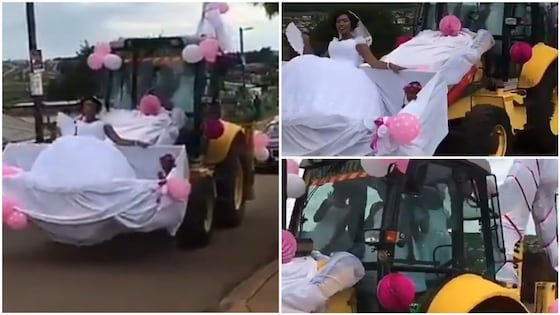 Hilarious video of a bride being conveyed in a bulldozer