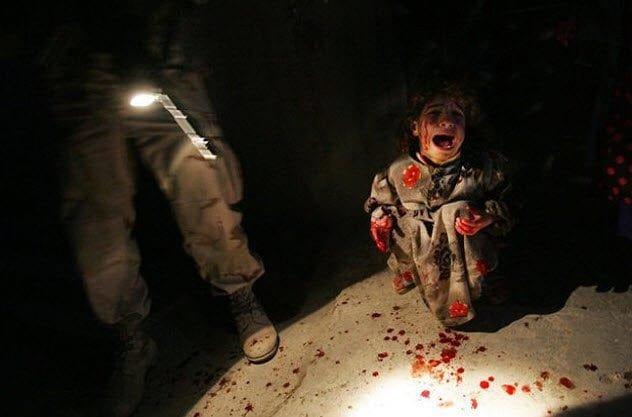 Iraqi girl at checkpoint